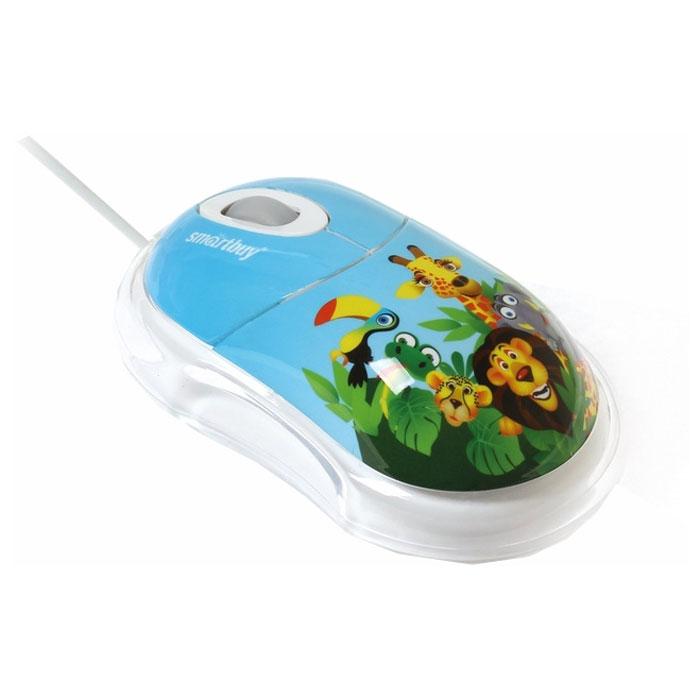 Smartbuy SBM-320-AZ, African Zoo проводная мышьSBM-320-AZЯркая проводная мышь SmartBuy 320 - отличный подарок ребенку. Сочетание привлекательного дизайна и эргономики способствуют комфортному использованию устройства любой рукой. Чувствительный оптический сенсор с разрешением 1000 dpi обеспечивает точное позиционирование курсора в графический приложениях, текстовых редакторах и играх. Мышь подключается к USB-порту ПК и не требует установки драйверов.