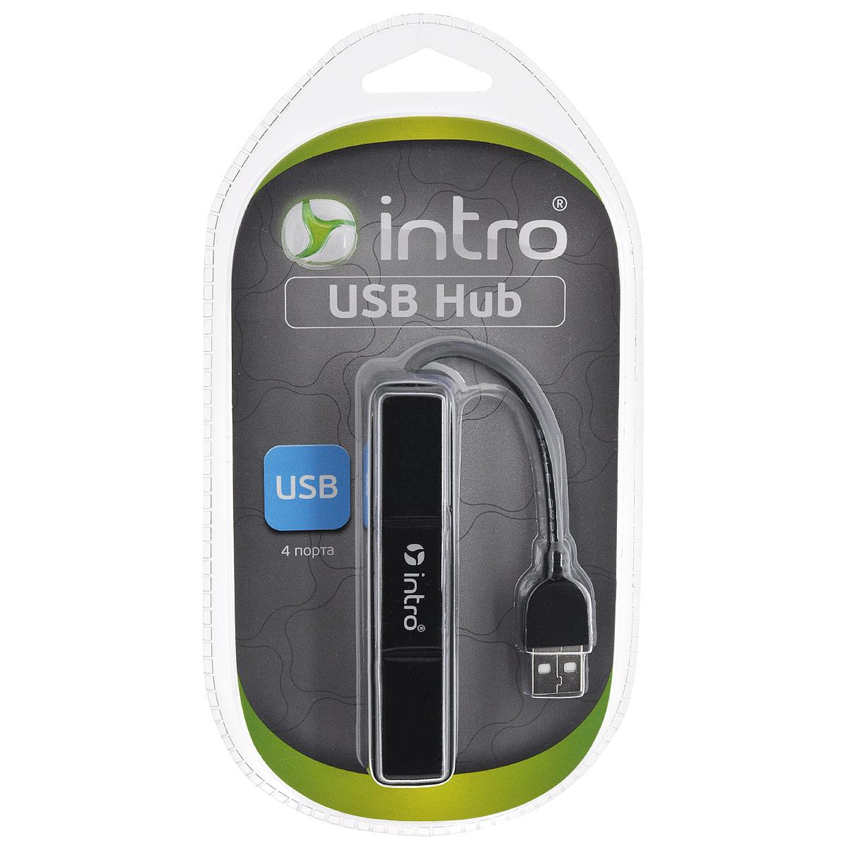 Intro Н510, Black USB-концентраторH510USB концентратор Intro Н510 с четырьмя разъемами и гибким коннектором.