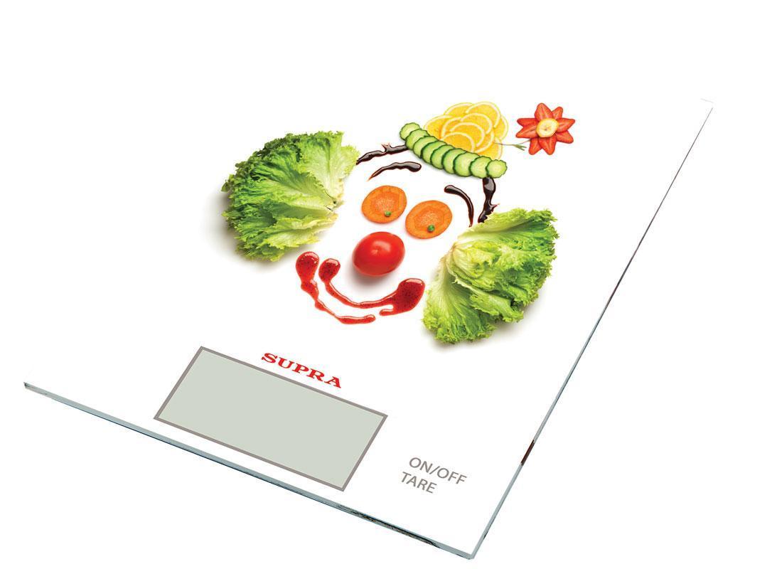 Supra BSS-4200, Clown кухонные весыBSS-4200 clownУльтратонкие электронные кухонные весы Поверхность: платформа из высокопрочного заколенного стекла (4 мм) Сенсорное управление Весы / тонометр(323)