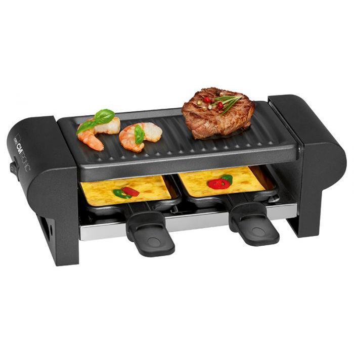 Clatronic RG 3592, Black раклетницаRG 3592 чернГриль Clatronic RG 3592 - универсальный многофункциональный электрический прибор, предназначенный для одновременного приготовления (гриля и запекания) мяса и яиц, рыбы и креветок, овощей и раклеттов, фруктов и других продуктов Среди плюсов гриля Clatronic RG 3592 следует отметить простоту в пользовании, легкость в очистке и доступную стоимость