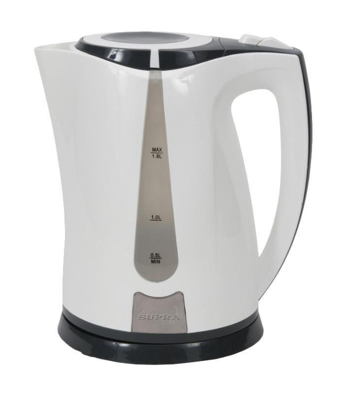 Supra KES-1821, White Grey электрический чайникKES-1821 white/greyЭлектрический чайник Supra KES-1821 является прекрасным решением для тех, кто любит устраивать себе перерывы в работе на чашечку чая или кофе. Он прост в управлении и долговечен в использовании. Чайник автоматически выключается при закипании.