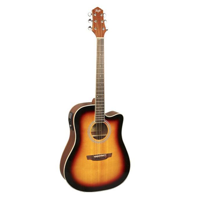Flight AD-200 CEQ, Sunburst электро-акустическая гитараЦБ013856Flight AD-200 CEQ - электроакустическая гитара с вырезом. Форма корпуса - Dreadnought. Верхняя дека изготовлена из ели, а нижняя и обечайка - из красного дерева. Данная модель имеет встроенный тюнер, 4-полосный эквалайзер, а также темброблок Prener-LC. Скос на верхней деке под правую руку специально спроектирован для комфортной игры.