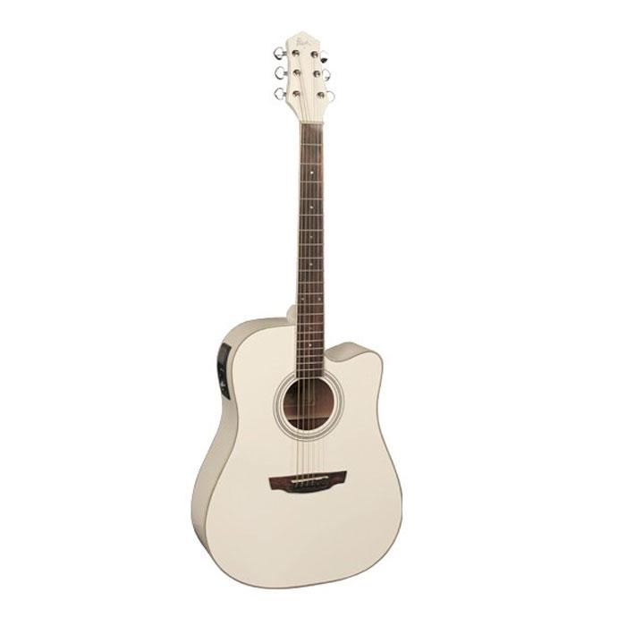 Flight AD-200 CEQ, White электро-акустическая гитара