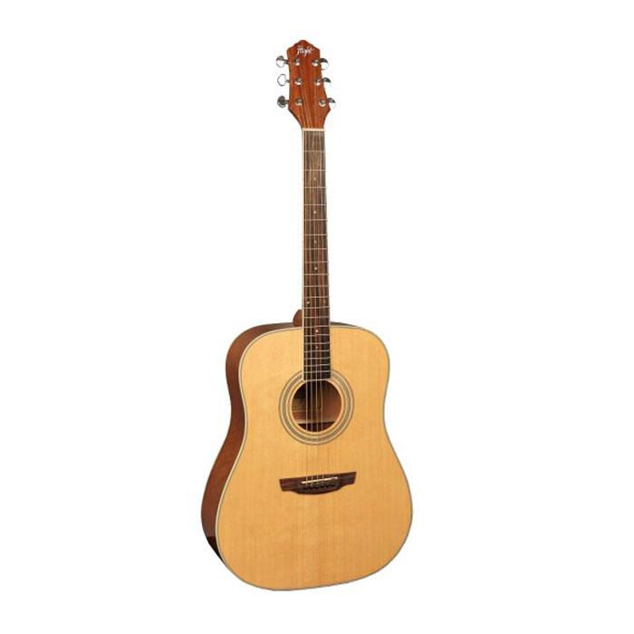 Flight D-200, Natural акустическая гитараЦБ013865Flight D 200 - прекрасный инструмент, который станет вашим верным спутником в любой ситуации. Эту гитару вы всегда сможете взять с собой на природу. Корпус гитары не требует постоянного ухода, увлажнения и поддержания нужной температуры в помещении. Верхняя дека изготовлена из ели, а нижняя и обечайка - из красного дерева.