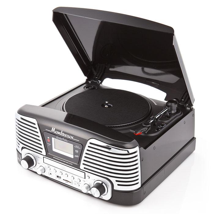 PlayBox Montreux ретро-проигрыватель, Black (PB-106D)PB-106D-BKPlayBox Montreux (PB-106D) - стильный и компактный проигрыватель виниловых дисков с винтажным дизайном,который напоминает проигрыватели виниловых дисков, популярных в середине прошлого столетия. Данная модель может не только воспроизводить старые пластинки, рассчитанные на скорости вращения 33, 45 и 78 оборотов в минуту, но и переписывать музыку с винила на карты памяти (SD/MMC) и компакт-диски. Помимо всех основных разъемов, проигрыватель оснащен встроенными динамиками.