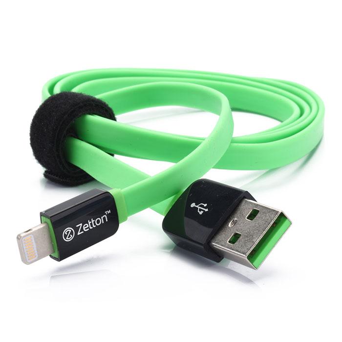 Zetton Flat USB кабель Apple 8 pin, Black Green (ZTLSUSBFCA8)ZTLSUSBFCA8BGZetton Flat (ZTLSUSBFCA8) - плоский кабель USB, который подходит для зарядки и передачи данных с устройств Apple, имеющих разъем Lightning.