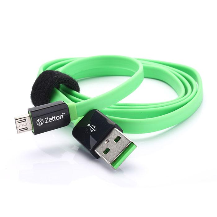 Zetton Flat кабель c Micro-USB, Black Green (ZTLSUSBFCMC)ZTLSUSBFCMCBGZetton Flat (ZTLSUSBFCMC) - плоский кабель, который подходит для большинства современных смартфонов, планшетных ПК, а также других устройств с разъемом microUSB. С его помощью можно осуществлять передачу данных и заряжать устройство.