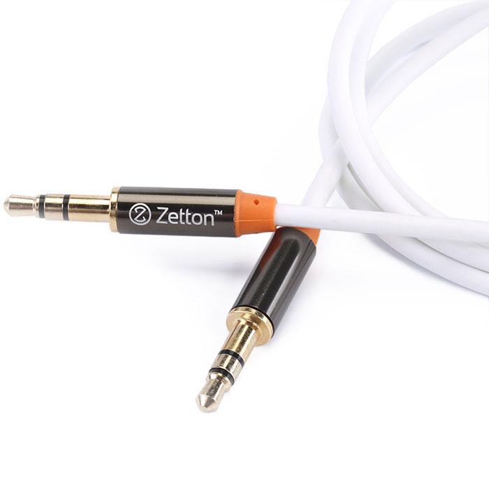 Zetton Metal, White аудиокабель AUX (ZTLSAUX1)ZTLSAUX1BWZetton Metal - высококачественный аудио-кабель с коннекторами 3,5 мм для соединения аудиоустройств, наушников, колонок и т.д.
