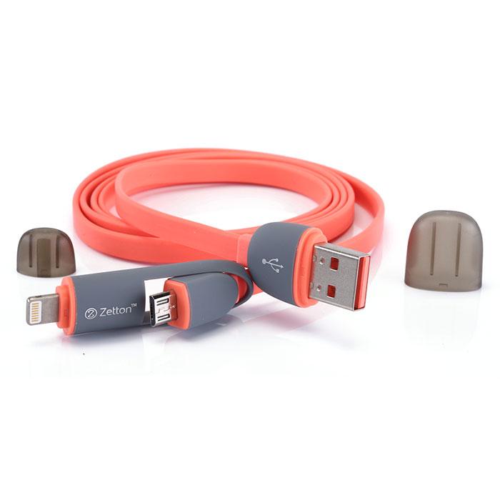 Zetton ZTLSUSB2IN1 USB кабель с разъемами Apple 8 pin/Micro-USB, RedZTLSUSB2IN1BRZetton ZTLSUSB2IN1 - составной плоский кабель, который подходит для зарядки и передачи данных устройств с разъемами microUSB и Lightning. Снабжен защитными колпачками для удобства хранения и транспортировки.