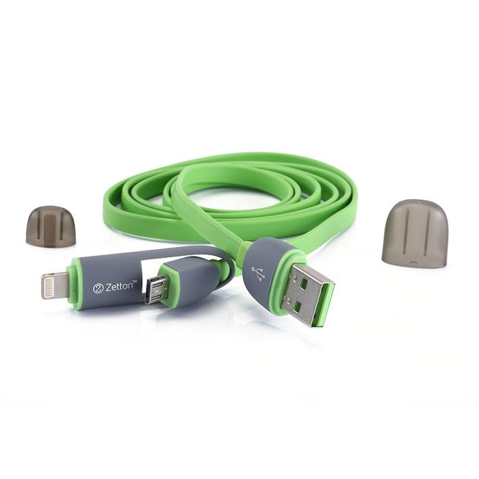 Zetton ZTLSUSB2IN1 USB кабель с разъемами Apple 8 pin/Micro-USB, Green