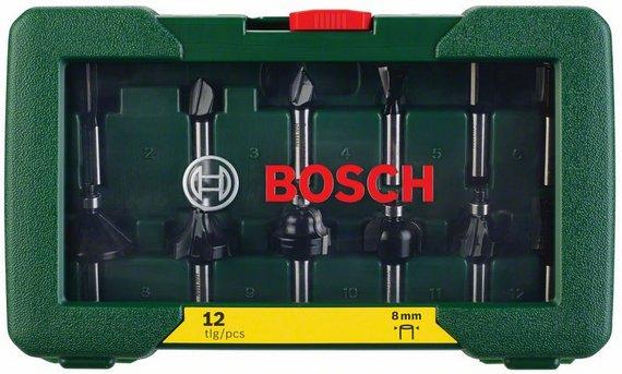 Набор фрез Bosch, хвостик 8 мм, 12 шт2607019466Набор фрез Bosch для вертикальных фрезерных машин. Состав набора: 3 пазовых фрезы, 2 галтельные фрезы, 1 фреза для снятия фасок, 1 V-образная пазовая фреза, 2 карнизные фрезы, 1 фреза для выборки заподлицо, 1 фреза ласточкин хвост, 1 профильная фреза. Хвостовик: 8 мм. Поставляется в пластиковом кейсе.