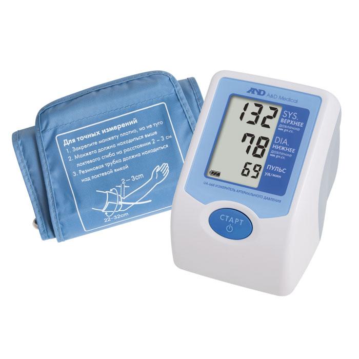 Тонометр автоматический AND UA-6686042021Тонометр AND UA-668 разработан крупнейшим японским брендом A&D для индивидуальных измерений давления, пульса и для использования в медицинских учреждениях. Основной электронный блок тонометра дополняет большой дисплей с тремя крупными строчками, отображающими цифры диастолического, систолического давления, пульса. Дополнительно на мониторе имеется индикация уровня зарядки, пульта. Также на дисплее отображаются сообщения о неплотно зафиксированной манжете, нестабильном давлении из-за движения руки. Управление тонометром осуществляется одной кнопкой. После фиксации манжеты следует соединить ее с электронным блоком соединительной трубкой, подсоединить адаптер, нажать на старт. Манжета самостоятельно наполнится воздухом и после замеров на мониторе отобразится результат. После отключения воздух удалится из манжеты самостоятельно.