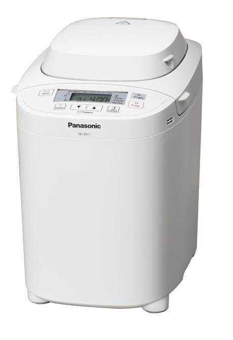 Panasonic SD-2511WTS xлебопечьSD-2511WTSХлебопечь Panasonic SD-2511WTS с диспенсером для дополнительных ингредиентов (изюма, орехов) порадует вас вкусным ароматным хлебом, мягкой сладкой выпечкой, вкусным джемом или вареньем. Максимальный вес буханки - 1 кг. При желании можно выбрать цвет корочки: потемнее или посветлее. Благодаря чаше с антипригарным покрытием булочки не пригорят, а уход за печью будет несложным. Всего в модели 14 программ, с помощью которых автоматически выпекаются разные сорта хлеба, в том числе, безглютеновый и бездрожжевой. Panasonic SD-2511WTS может быстро замесить тесто. Таймер отсрочки на 13 часов позволит приготовить выпечку к нужному времени. Хотите свежего хлеба к пробуждению? Хлебопечка вам его приготовит. Для любителей теплого хлеба в Panasonic SD-2511WTS есть функция сохранения температуры.