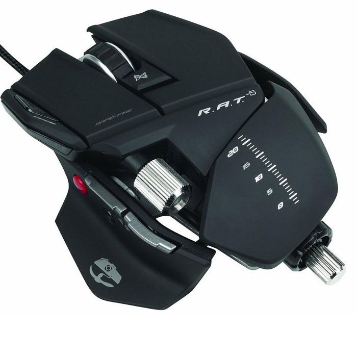 Mad Catz R.A.T.5, Matt Black проводная лазерная игровая мышь (MCB4370500B2/04/1) ( CCB437050002/04/1 MCB4370500B2/04/1 )
