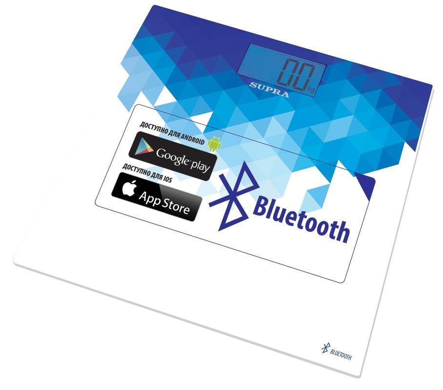 Supra BSS-6000 напольные весыBSS-6000Весы напольные c Bluetooth Новейшая система датчиков ITO Точная диагностика массы тела Удобное приложение SUPRA Fit BSS для определения результатов взвешивания и диагностики жировой массы можно скачать в App Store