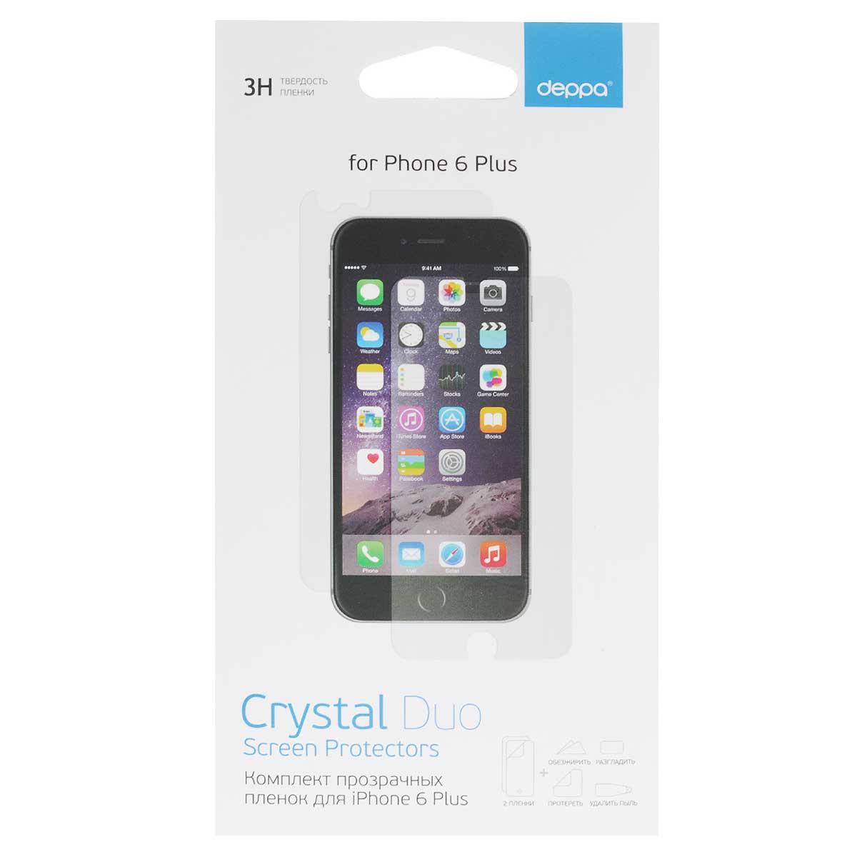 Deppa комплект защитных пленок для Apple iPhone 6 Plus, Clear61376Комплект прозрачных пленок Deppa защитит iPhone 6 Plus от царапин. Пленки изготовлены из трехслойного японского материала PET.
