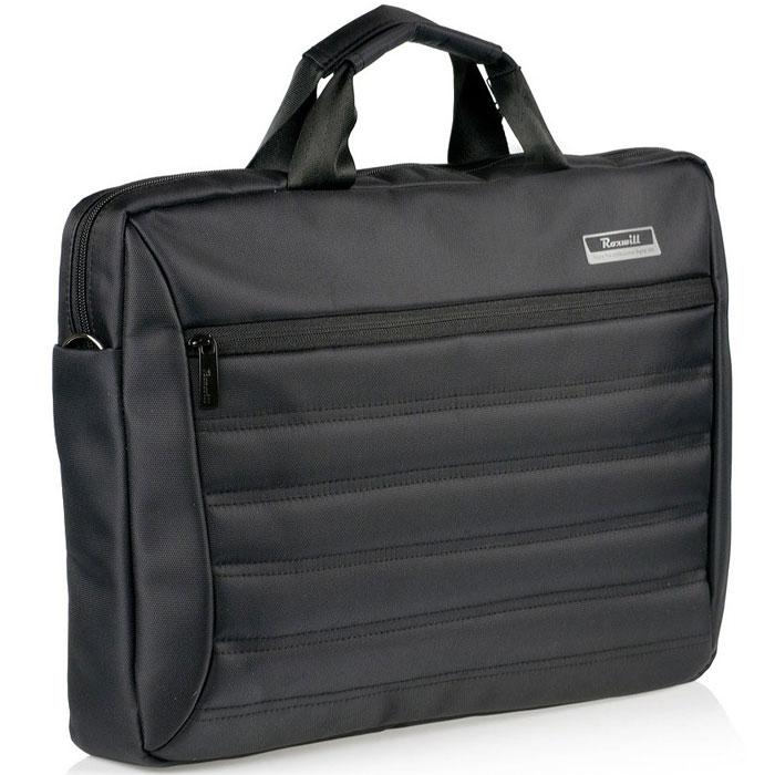 Roxwill DC60, Black cумка для ноутбука 15.6DC60 blackСумка Roxwill DC60 для ноутбуков диагональю до 15.6. Основной материал - высококачественный нейлон, который надежно защитит содержимое от пыли, влаги и царапин. Для защиты от ударов сумка имеет подкладку из синтетического материала. Имеет несколько карманов для аксессуаров и отдел для документов, а также два внешних кармана. Двойная застежка молния для удобного доступа к ноутбуку Металлическая фурнитура Регулируемый съемный плечевой ремень. Крепление на багажную сумку-тележку