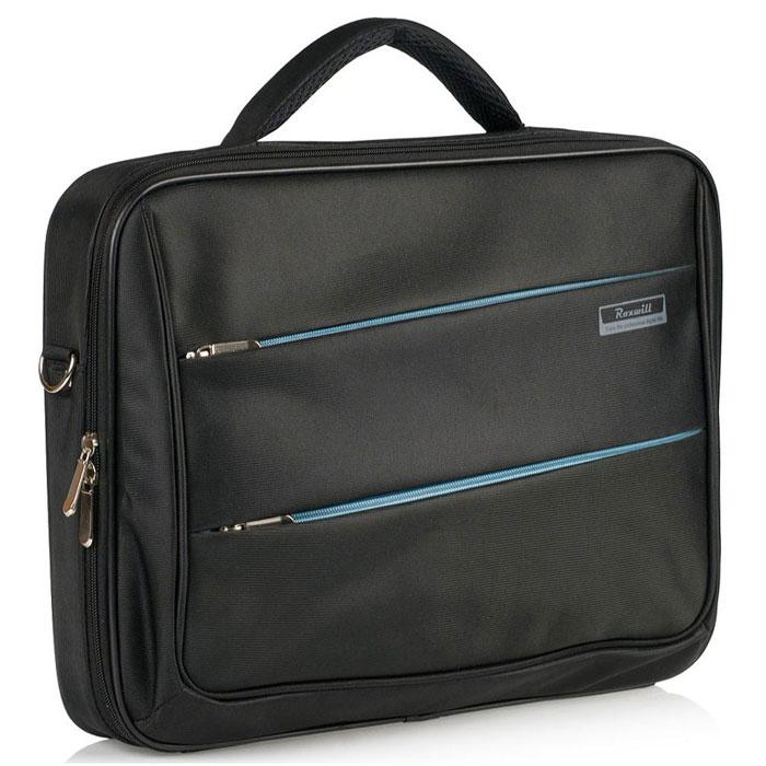Roxwill DD60, Black cумка для ноутбука 15.6DD60 blackСумка Roxwill DD60 для ноутбуков диагональю до 15.6. Основной материал - высококачественный нейлон, который надежно защитит содержимое от пыли, влаги и царапин. Карбоновая рама надежно защищает ноутбук от торцевых ударов. Отдел для ноутбука имеет ремень для фиксации. В зависимости от размера ноутбука здесь можно разместить и зарядное устройство. Три внешних кармана - для документов, для аксессуаров и гаджетов Двойная застежка молния для удобного доступа к ноутбуку Металлическая фурнитура Регулируемый съемный плечевой ремень. Крепление на багажную сумку-тележку