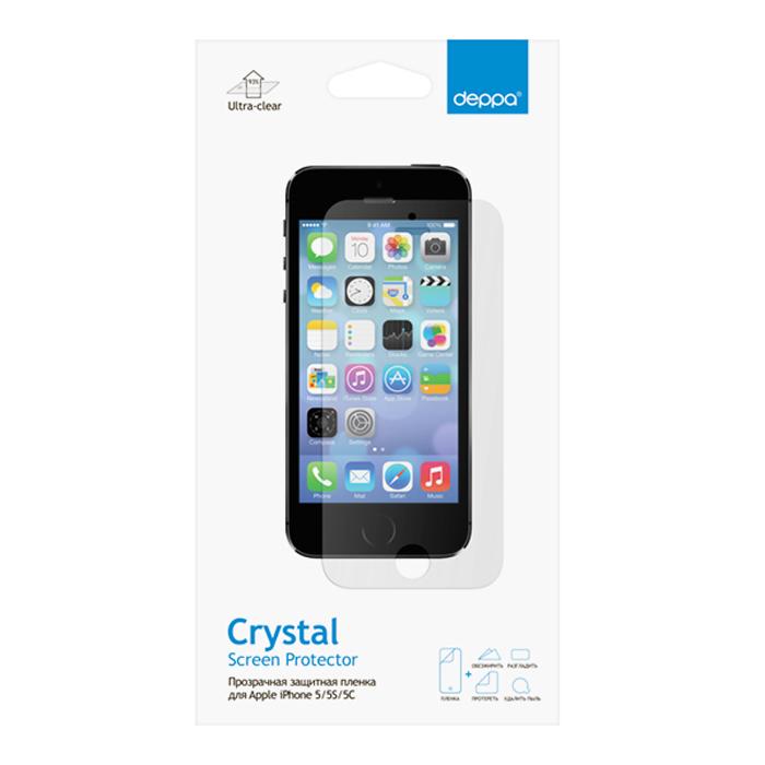 Deppa защитная пленка для Apple iPhone 5/5s/5c, прозрачная61201Прозрачная пленка Deppa защитит устройство от царапин. Пленка изготовлена из трехслойного японского материала PET.
