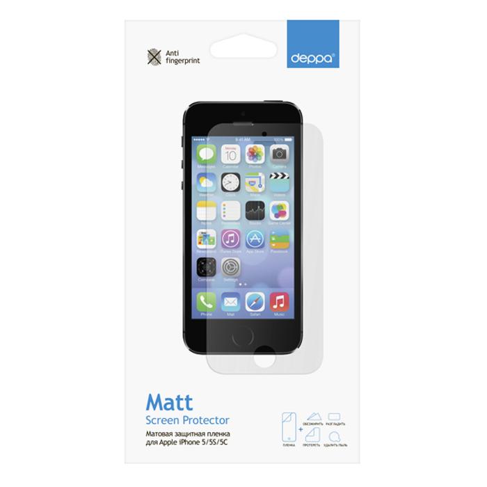 Deppa защитная пленка для Apple iPhone 5/5s/5c, матовая61007Матовая пленка Deppa защитит устройство от царапин. Пленка изготовлена из трехслойного японского материала PET.
