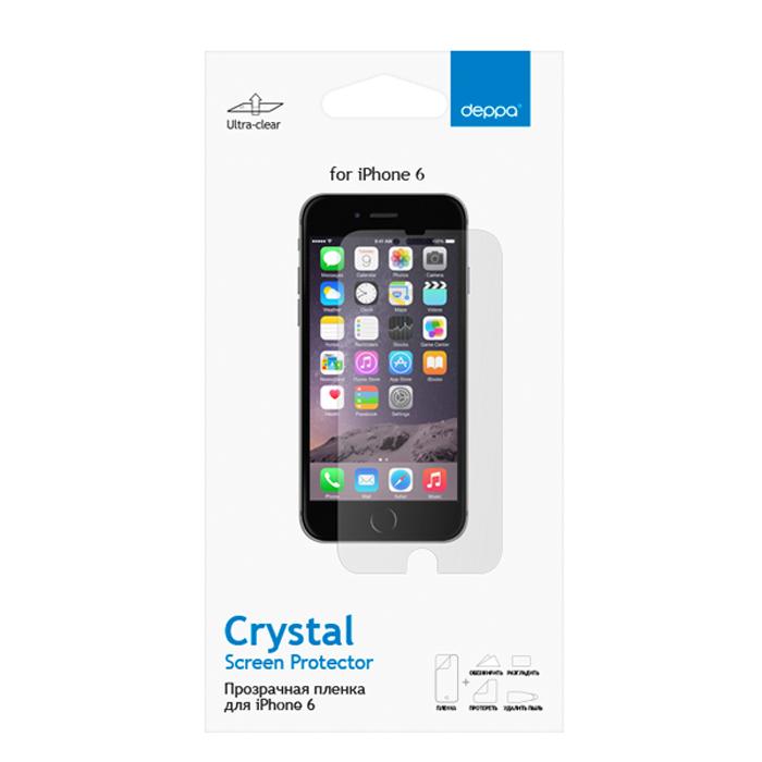 Deppa защитная пленка для Apple iPhone 6, прозрачная61073Прозрачная пленка Deppa защитит устройство от царапин. Пленка изготовлена из трехслойного японского материала PET.