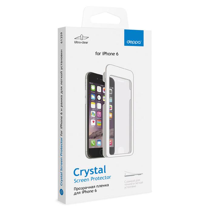 Deppa защитная пленка для Apple iPhone 6, прозрачная и рамка для легкой установки61359Прозрачная пленка Deppa защитит устройство от царапин. Пленка изготовлена из трехслойного японского материала PET. Благодаря рамке пленка легко наклеивается.