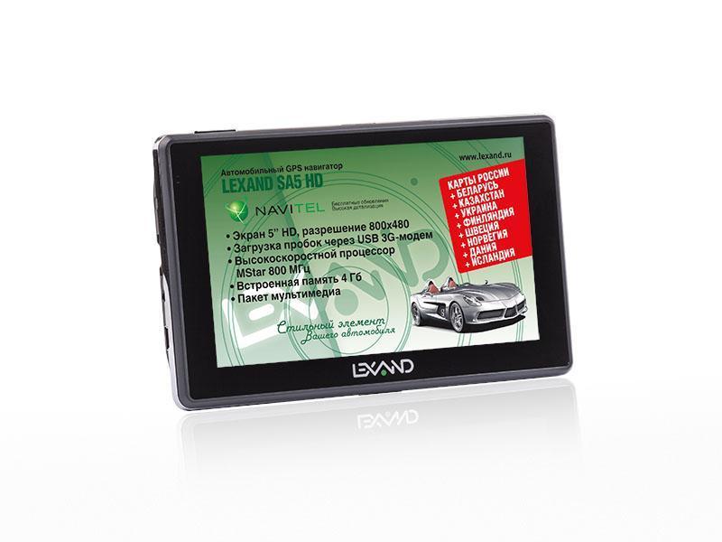 Lexand SA5 HD+, Black GPS навигаторSA5 HD+GPS Навигатор Lexand SA5 HD+ – это устройство, созданное для облегчения жизни автомобилистов и путешественников. Оснащенный программным обеспечением Navitel Навигатор 8.7 с расширенным картографическим пакетом, девайс, поможет Вам всегда получать только актуальную и детализированную информацию о Вашем местонахождении и без проблем добраться до места назначения. Голосовое оповещение предназначено для того, чтобы водитель был сконцентрирован только на дороге. Устройство имеет цветной пятидюймовый сенсорный LCD-дисплей с разрешением 800х480 пикселей. Навигатор обеспечен встроенным 64-канальным GPS-приемником. Работающий на базе операционной системы Windows CE net 6.0 Core Version, GPS Навигатор Lexand SA5 HD+ располагает большими мультимедийными возможностями: видеоплеер, FM-трансмиттер, Bluetooth-модуль, а также очень полезная для автомобилистов функция – загрузка пробок. Быструю работу устройства обеспечивает процессор Mstar MSB2531, имеющий частоту 800 МГц. А наличие собственной...