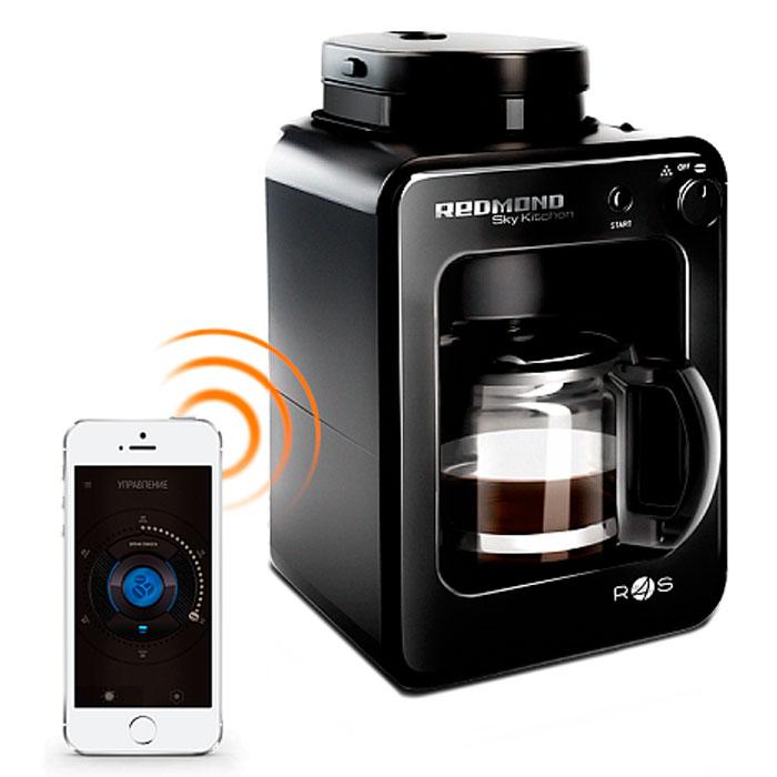 Redmond SkyCoffee RCM-M1505S-E кофеварка1505S-EСделать утро по-настоящему добрым поможет кофеварка SkyCoffee М1505S - этот универсальный прибор полностью самодостаточен - сам и кофейные зерна измельчит, и кофе сварит, и к столу позовет. Рациональное техническое решение - совмещение функционалов кофемолки и кофеварки в одном SkyCoffe - и технология управления Ready for Sky превращают М1505S в современное высокотехнологичное устройство, которое экономит ваше время. Технология управления Ready for Sky Минимальная поддерживаемая версия Android 4.3 Jelly Bean Минимальная поддерживаемая версия iOS 7.0 Передача данных через Bluetooth v 4.0 Мощность 600 Вт Кувшин из термостойкого стекла объемом 0,5 л Встроенная кофемолка Возможность использования целых и молотых зерен Съемный металлический фильтр Подогрев кувшина 3 степени защиты