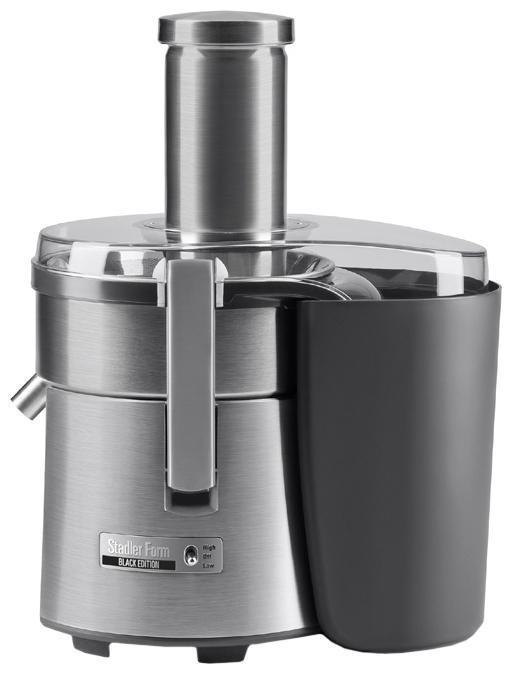 Stadler Form Juicer Three SFJ.1100 соковыжималкаJuicer Three SFJ.1100Употребление свежевыжатых соков - отличный способ увеличить потребление и разнообразие фруктов и овощей в рационе. Это станет для вас регулярной привычкой с соковыжималкой Juicer Three, благодаря минимальным затратам времени и усилий необходимым для получения готового продукта с ее помощью. Ингредиенты практически не требуют подготовки благодаря широкому загрузочному желобу диаметром 75 мм, что позволяет большинство плодов загружать целиком. Мощность прибора, составляющая 1250 Вт, обеспечивает быстрый отжим как мягких, так и твердых плодов без потери эффективности. Для регулировки мощности в зависимости от плотности продукта, предусмотрено наличие двух скоростей. При их выборе можно руководствоваться таблицей, приведенной в инструкции по применению. Там же вы можете найти разнообразные рецепты соков для любого случая. Эффективность отжима обусловлена фильтрующей корзиной с двойными лезвиями и мелкоячеистым фильтром из нержавеющей стали. Для непрерывного...