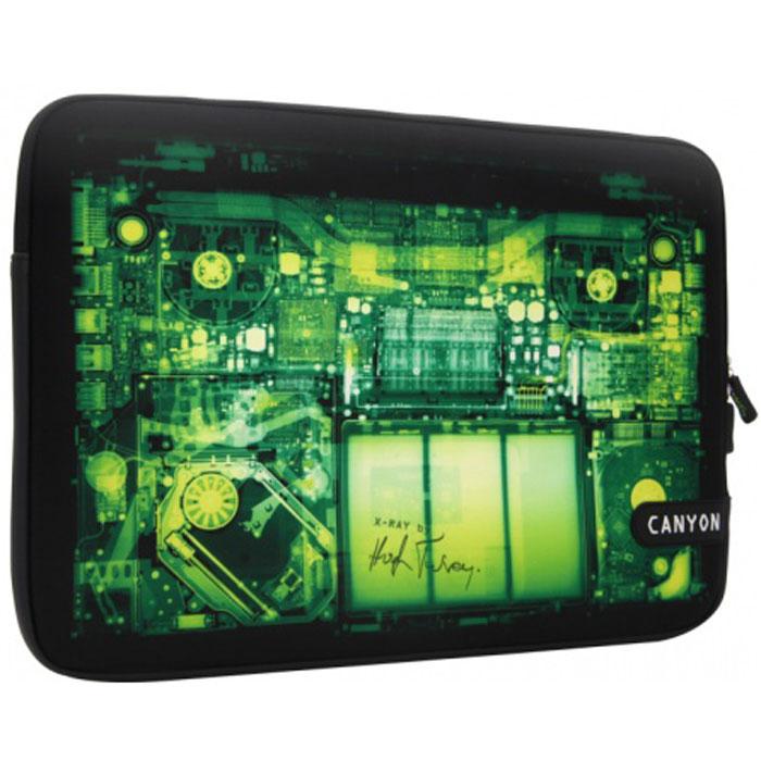 Canyon CNL-NB10IX чехол для iPad/iPad 2, Black GreenCNL-NB10IXСтильный защитный чехол Canyon CNL-NB10IX для iPad/iPad2 идеально подчеркнет ваш современный стиль. Он сделан из мягкого, но прочного материала и защитит ваше устройство от царапин и пыли. Чехол оснащен удобной и практичной застежкой-молнией и прекрасно вмещает iPad/iPad2. Серия X-Ray имеет уникальный графический рисунок и дизайн, имитирующий рентген-снимок. Автором концепции оформления этой серии является всемирно известный английский дизайнер-виртуоз Хью Терви (Hugh Turvey).