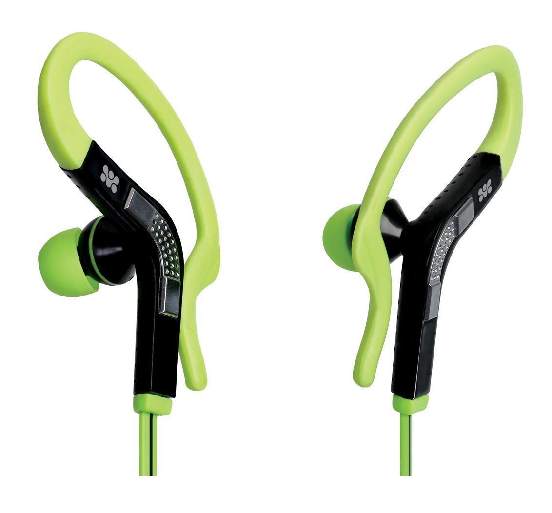Promate Snazzy, Green наушники00007432Восхитительный функциональный дизайн, не позволяющий гарнитуре упасть даже при очень интенсивных спортивных нагрузках, вкупе с качественным звуком - интересное решение для людей, ведущих активный образ жизни. Может быть использован как гарнитура к телефону, так как оснащен встроенным микрофоном и универсальной кнопкой управления вызовами.