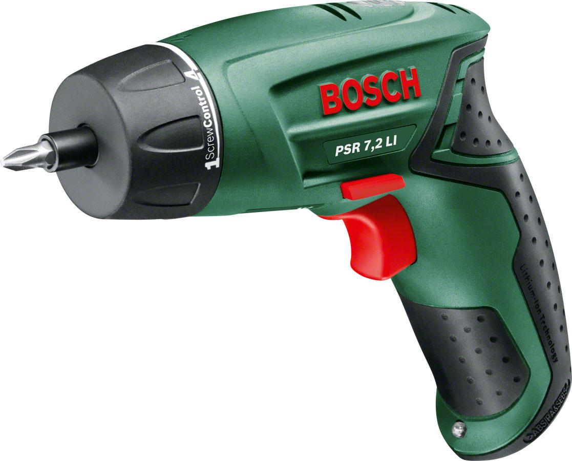 Bosch PSR 7.2 LI (0603957720) шуруповёртPSR 7.2 LIBosch PSR 7,2 LI Аккумуляторный шуруповерт Bosch PSR 7,2 LI предназначен для закручивания крепежных элементов. Несколько режимов крутящего момента - для выбора нужного в зависимости от интенсивности работы. Небольшой вес делает длительную работу более комфортной. Светодиодная подсветка PowerLight обеспечивает удобную работу в мало освещенных помещениях. Несмотря на предельную компактность, у отвертки большой рабочий потенциал. Основные достоинства – мощный аккумулятор и возможности регулировки. Литий-ионная батарея на 7,2 В — миниатюрная и легкая. Емкости хватает, чтобы на одном заряде завернуть до 250 саморезов. Саморазряд минимален. Это значит, что отверткой можно свободно пользоваться даже после длительного перерыва. При помощи муфты регулировки легко установить усилие закручивания (всего 10 значений, максимальное до 10 Нм). Обороты регулируются в зависимости от силы нажатия на выключатель (в пределах от 0 до 240 об/мин).