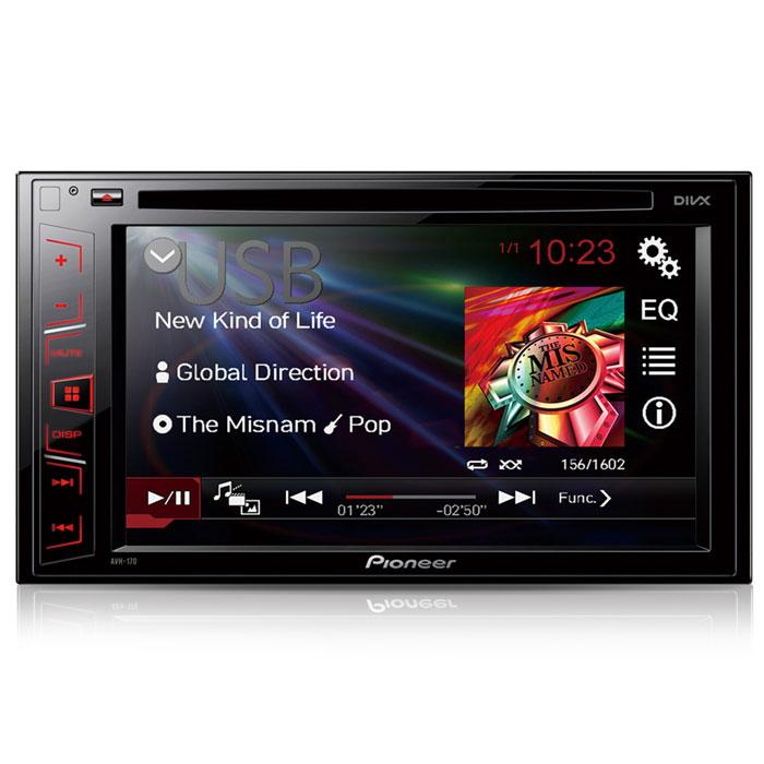 """Pioneer AVH-170 автомагнитола CD/DVDAVH-170Наслаждайтесь воспроизведением любимого аудио и видео контента на большом 6.2"""" сенсорном экране мультимедийного АВ-ресивера Pioneer AVH-170. Модель воспроизводит аудио/видео практически с любого источника, будь то CD, DVD, USB носители или последние поколения iPhone и Android-смартфонов. Воспроизведение через USB-порт: Подключив USB-носитель к USB-порту, вы сможете с легкостью воспроизводить любимые фильмы и музыкальные композиции. АВ-ресивер поддерживает воспроизведение большинства популярных аудиоформатов, а также видеофайлов в формате DivX, Xvid и MPEG-1/-2/-4 Большой 6.2 сенсорный экран: Наслаждайтесь воспроизведением фильмов и музыки на большом 6,2 сенсорном экране с антибликовым покрытием. Современный интерфейс интуитивно прост в использовании и не отвлекает от управления автомобилем. Смотрите кино в дороге: Доставьте своим пассажирам настоящие удовольствия от автомобильного мультимедиа. АВ-ресивер ..."""