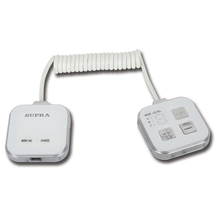 Supra Миостимулятор для похудения MBS-1126856Массажер для похудения с функцией миостимулятора Supra MBS-112 вам достичь красивой и стройной фигуры без усилий. 20 минут использования массажера заменяют 2,5 часа тренировки в спортивном зале. Тренируйся в любом месте и в любое время. Как работает массажер: В зависимости от выбранного режима автоматическая программа генерирует безопасные биологические импульсы различной частоты и интенсивности. Эти импульсы стимулируют двигательные нервы человеческого организма, которые в свою очередь заставляют мышцы производить колебательные движения за счет быстрых сокращений. Колебательные движения вынуждают мышцы потреблять энергию и сжигать жир. В результате постоянного использования массажера жировые отложения устраняются и формируется стройное подтянутое тело. Воздействие микроэлектронных волн не только позволяет убрать живот и бока, но также стимулирует работу пищеварительных органов и избавляет от проблемы запоров. Используйте массажер лежа или...