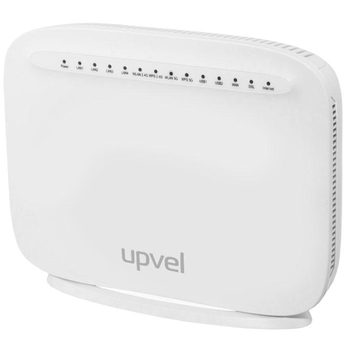UPVEL UR-835VCU маршрутизаторUR-835VCUМаршрутизатор UPVEL UR-835VCU является устройством «все в одном» и включает в себя маршрутизатор, двухдиапазонную AC1600 Wi-Fi точку доступа (802.11ac 1300 Мбит/с + 802.11n 300 Мбит/с), xDSL модем, межсетевой экран, четырехпортовый коммутатор Gigabit Ethernet и два порта USB 2.0 для подключения 3G/4G/LTE модемов, накопителей, принтеров. Вы можете объединить в домашнюю сеть ваш компьютер, ноутбук, смартфон, игровую приставку и другие устройства и обеспечить всем вашим устройствам доступ в Интернет. Роутер поддерживает все современные технологии подключения к сети Интернет: VDSL2, ADSL2+, Ethernet, 3G/LTE. С помощью UR-835VCU можно организовать общий доступ к внешним накопителям, сетевому хранилищу (NAS) и принтеру, а также подключить IP-TV приставку для просмотра цифрового телевидения. Скорость передачи данных при подключении к Интернету по технологии ADSL2/ADSL2+ Annex M составляет до 24 Мбит/с к пользователю и до 3.5 Мбит/с от пользователя, при...