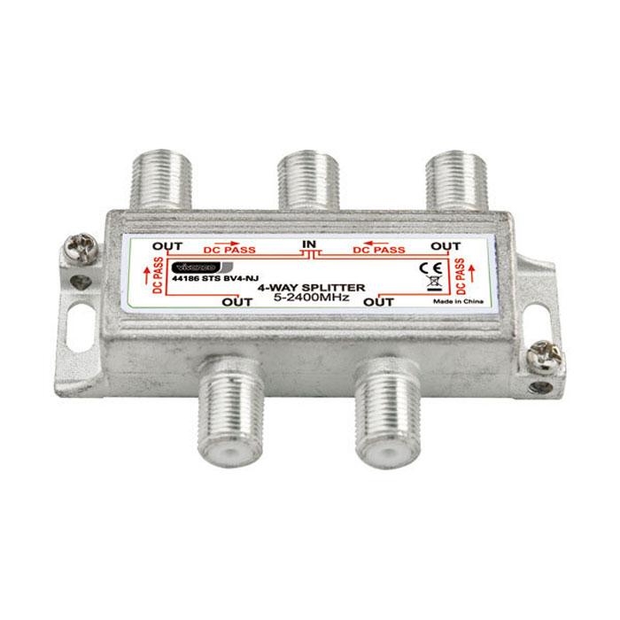 Vivanco антенный сплиттер F гнездо > 5-2400 МГц > 4 х F гнездо44186Антенный сплиттер Vivanco полностью экранирован и предназначен для разделения телевизионных сигналов. Сопротивление: 75 Ом Частота: 5-2400 МГц