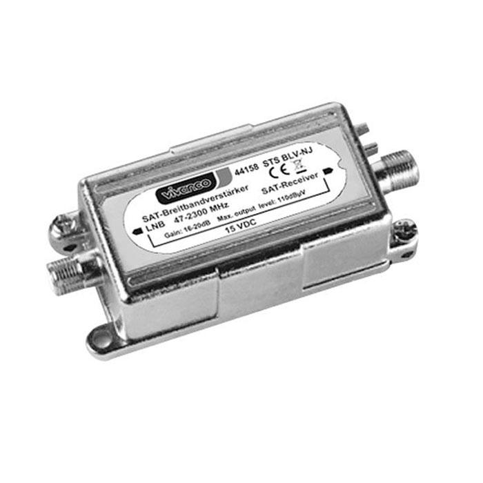 Vivanco антенный усилитель 16-20 дБ (F гнездо-F гнездо)44158Широкополосный антенный усилитель с разъемом F компенсирует потерю телевизионного сигнала. Питание осуществляется через приемник SAT.