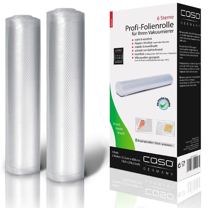 CASO VC 28х600 пленка в рулоне для вакуумного упаковщика, 2 шт.VC 28*600Рулоны для вакуумной упаковки CASO VC - это два рулона профессиональной пленки размером 27.5 x 600 см для вакуумной упаковки с ребристой внутренней поверхностью для оптимального вакуумирования. Высокая прочность пакета допускает замораживание, использование в СВЧ печи, готовку по технологии Sous-Vide.