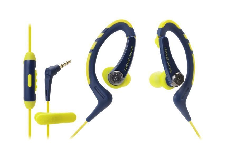 Audio-Technica ATH-SPORT1iS, Navy Yellow наушникиATH-SPORT1iS NYAudio-Technica SPORT1iS - вставные наушники-гарнитура для тех, кто увлекается спортом и при этом следит за модными тенденциями. Это модный аксессуар для использования с мобильными устройствами на платформе Android, который удобно крепится за ухом с помощью мягких резиновых креплений и дарит долгие часы непрерывного динамичного звучания благодаря небольшим, но мощным динамикам диаметром 8,5 мм Влагозащита IXP5 выдерживает самые интенсивные занятия спортом, тренировки под дождем, а также чистку наушников под струей воды после очередной пробежки Укороченный провод традиционно снабжен клипсой для удобного крепления к одежде