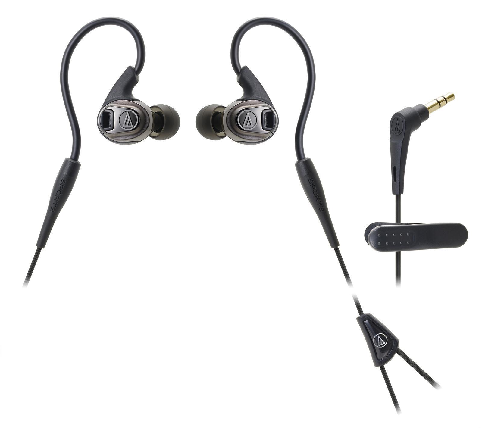 Audio-Technica ATH-SPORT3, Black наушникиATH-SPORT3 BKAudio-Technica SPORT3 – вставные динамические наушники с заушным креплением, созданные для спортсменов, которые ценят длительный комфорт в сочетании с первоклассным звуком музыки во время интенсивных тренировок Конструкция модели гибкая и безопасная, позаимствованная из известной линейки арматурных наушников Audio-Technica IM. Звук динамичный, передающий все нюансы звучания. Звуковой канал имеет пятую степень защиты от влаги IXP5 и оснащен встроенными стабилизаторами, благодаря которым происходит оптимизация воздушных потоков в канале. Насыщенный звук достигается также за счет устранения ненужных вибраций Водозащита IXP5 выдерживает самые интенсивные занятия спортом, тренировки под дождем, а также чистку наушников под струей воды после очередной пробежки Укороченный провод традиционно снабжен клипсой для удобного крепления к одежде