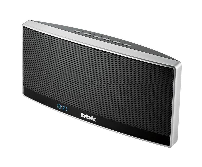 BBK BTA120, Black Silver акустическая системаBTA120Современная, многофункциональная и мощная беспроводная акустическая система BTA120 никогда не позволит скучать! Поддержка протокола A2DP позволяет подключать ее практически к любому устройству со встроенным Bluetooth-модулем - смартфону, планшету, компьютеру и др. Слушаешь любимую музыку и хочешь поделиться ею с друзьями? Просто подключи источник сигнала одним из способов: через USB-порт, с помощью кабеля через аудиовход AUX IN или по беспроводной связи Bluetooth. BTA120 позволяет вместе наслаждаться любимыми композициями. Благодаря наличию встроенного микрофона в BTA120 реализована функция громкой связи, что позволяет использовать это устройство в машине, а также общаться с несколькими людьми одновременно. Встроенный аккумулятор большой емкости позволяет не только наслаждаться музыкой, но и заряжать подключенное через USB-порт внешнее устройство. Модель также оснащена цифровым FM-тюнером.
