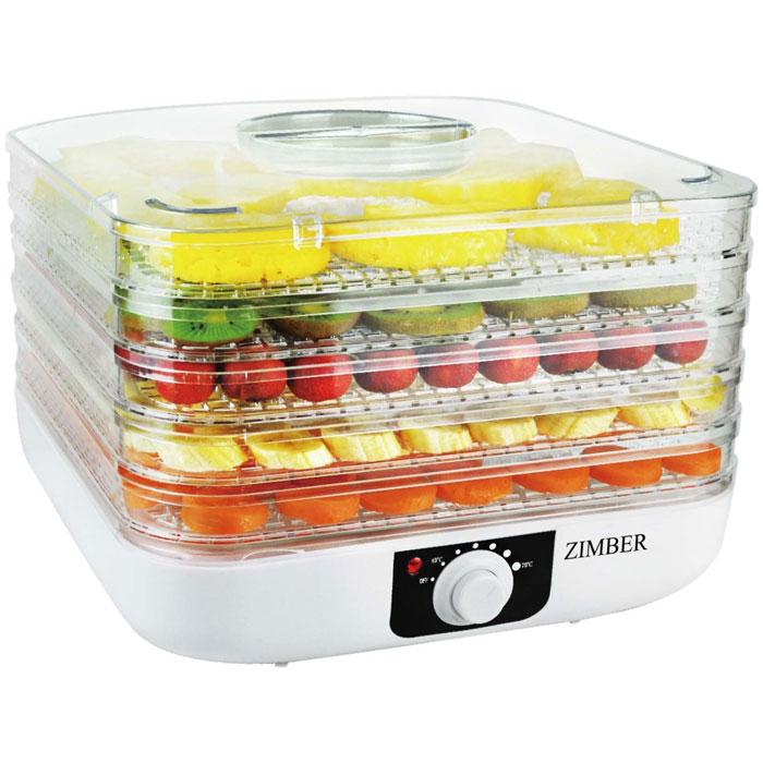 Zimber ZM-11023 дегидраторZM-11023Zimber ZM 11023- это сушилка для овощей, которая позволит вам быстро и качественно обработать овощи и фрукты для хранения. Пять уровней обеспечат удобное размещение продуктов внутри устройства и легкий доступ к ним, а прозрачные стенки корпуса позволят четко видеть, какие овощи внутри. Подбор оптимальной температуры в диапазоне от 40 до 70 градусов, позволит засушить овощи до необходимого состояния. Неоспоримым плюсом является также необычайная простота управления.