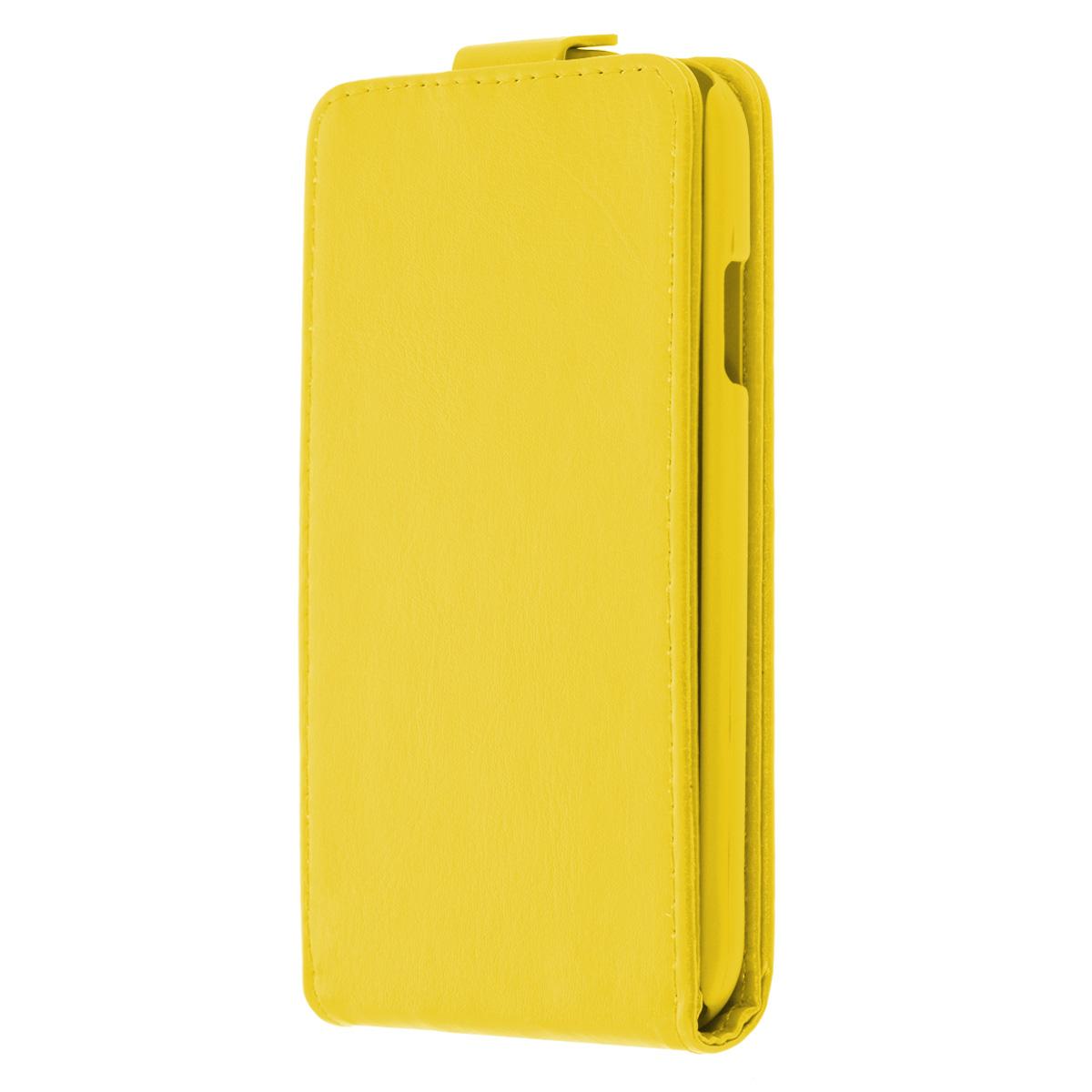 Skinbox Flip Case чехол для Samsung Galaxy S4, YellowT-F-SI9500Чехол Skinbox Flip Case выполнен из высококачественного поликарбоната и экокожи. Он надежно защитит ваше устройство от пыли, влаги и механических повреждений. Обеспечивает свободный доступ ко всем разъемам и клавишам смартфона.