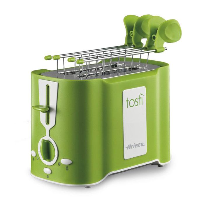 Ariete Tosti, Green тостер (124/12)124/12 greenТостер Ariete Tosti идеально подходит для поджаривания хлеба на завтрак или на закуску. Он имеет 6 уровней приготовления, что позволяет настроить желаемую степень поджаривания. Поддон для крошек является съемным для облегчения чистки. Функции разморозки и автоматического извлечения ломтиков делают его бесспорным союзником на кухне. Уровни подрумянивания: 6 Автоматическое извлечение Поддон для крошек