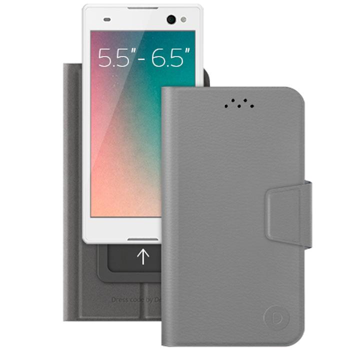 Deppa Wallet Slide L универсальный чехол-подставка для смартфонов 5.5-6.5, Gray84052Универсальный чехол Deppa Wallet Slide L предназначен для защиты корпуса смартфона диагональю 5.5-6.5 от механических повреждений и царапин в процессе эксплуатации. Имеется свободный доступ ко всем разъемам и кнопкам устройства. Подходит для смартфонов с любым расположением камеры.