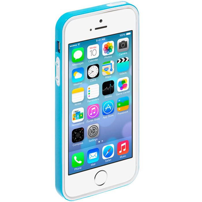 Deppa Candy Bumper чехол-бампер для Apple iPhone 5/5s, Light Blue63140Чехол-бампер Deppa Candy Bumper для iPhone 5/5s предназначен для защиты корпуса смартфона от механических повреждений и царапин в процессе эксплуатации. Имеется свободный доступ ко всем разъемам и кнопкам устройства. В комплект также входит защитная пленка из трехслойного японского материала PET.