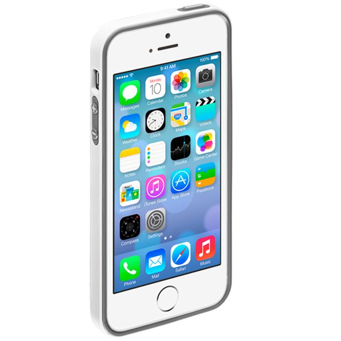 Deppa Candy Bumper чехол-бампер для Apple iPhone 5/5s, White63138Чехол-бампер Deppa Candy Bumper для iPhone 5/5s предназначен для защиты корпуса смартфона от механических повреждений и царапин в процессе эксплуатации. Имеется свободный доступ ко всем разъемам и кнопкам устройства. В комплект также входит защитная пленка из трехслойного японского материала PET.
