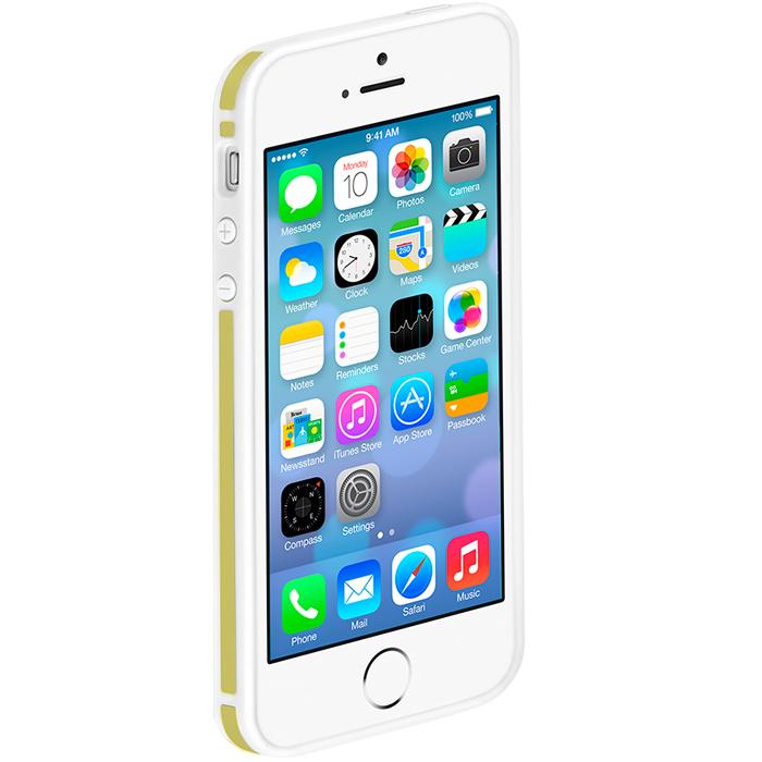 Deppa Slim Bumper чехол-бампер для iPhone 5/5s, White Yellow63122Чехол-бампер Deppa Slim Bumper для iPhone 5/5s предназначен для защиты корпуса смартфона от механических повреждений и царапин в процессе эксплуатации. Имеется свободный доступ ко всем разъемам и кнопкам устройства.