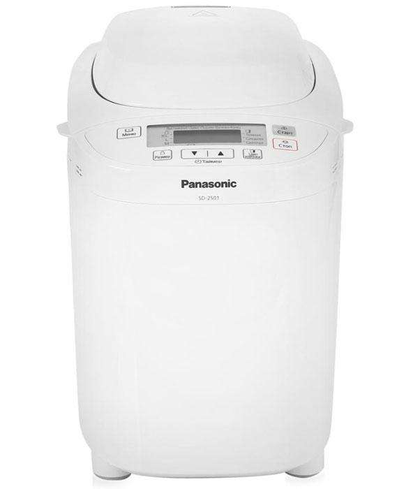 Panasonic SD-2501WTS хлебопечьSD-2501WTSPanasonic SD-2501WTS - автоматическая хлебопечь с диспенсером для изюма и орехов, программой выпечки ржаного хлеба, хлеба без глютена, а так же программой для приготовления варенья и компота. Выпекайте хлеб дома - легко! Алмазно-фтористое покрытие формы для выпечки хлеба для защиты от повреждений. 12 программ выпечки хлеба. 10 программ приготовления теста (8 программ приготовления теста для пирогов, программа приготовления теста для пельменей, программа приготовления теста для пиццы). Каждая программа реализует определенный способ приготовления теста/хлеба и подходит для большого количества разнообразных рецептов. Программа для замеса крутого пресного теста (пельмени) подходит для домашней лапши, вареников, хвороста и многого другого. Отдельная программа для быстрого замеса дрожжевого теста для пиццы. Программа приготовления традиционного русского варенья. Новая программа приготовления фруктов в сиропе. Выпечка кексов...
