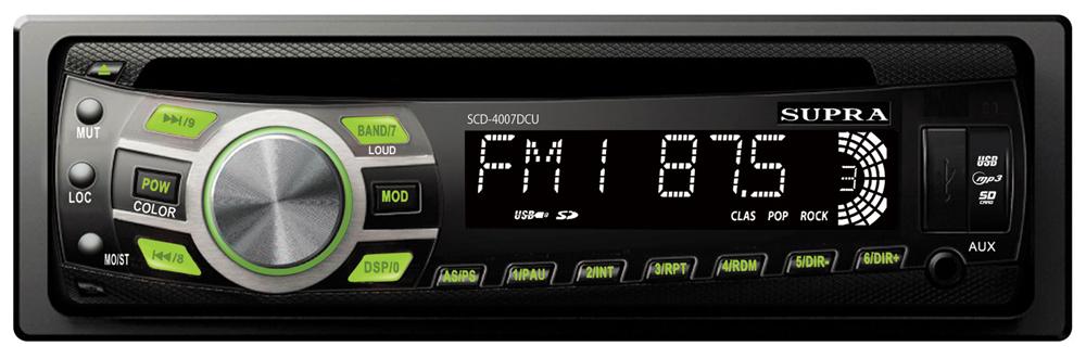 Supra SCD-4007DCU, Black автомагнитола CD/MP3SCD-4007DCUSupra SCD-4007DCU - автомагнитола серии Shock с откидной съемной передней панелью. Имеется двойная подсветка кнопок (зеленый и белый цвет), а также антишок повышенной эффективности. Мощность магнитолы - 4 x 70Вт. Из дополнительных функций присутствуют автопоиск, эквалайзер, приглушение звука, тон-компенсация, и часы.